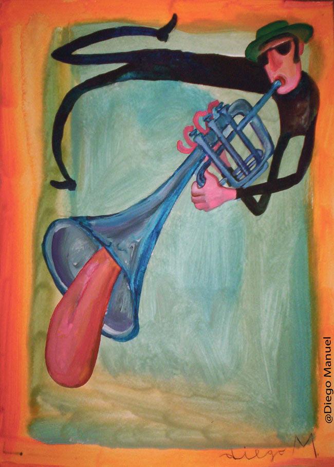 Trompeta y lengua. Pintura de la Serie Jazz.